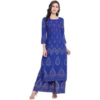 Blue printed rayon kurta with palazzo