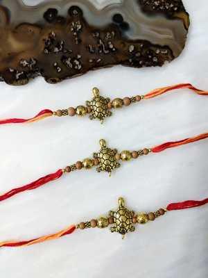 Set of 3 Gold Tortoise Designer Wooden Beads Multicolor Thread Rakhi For brother