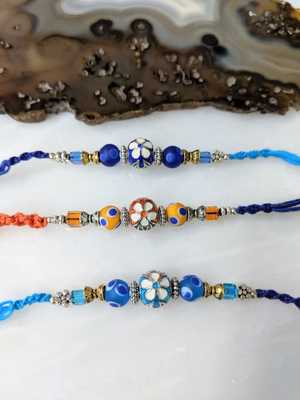 Set Of 3 Flower Designer Silver Ring With Multicolor Beads Thread Rakhi For Brother