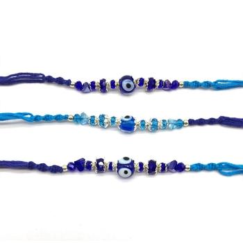 Set of 3 Navy Blue Evil Eye Beads Multicolor Thread Designer Rakhi For brother