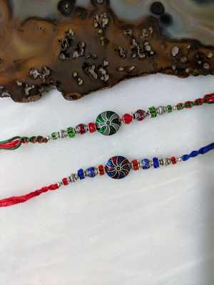 Set of 2 Tibetan Designer Multicolor Gemstone Silver Beads Thread Rakhi for brother