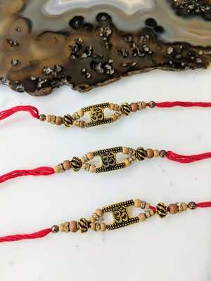 Set of 3 Gold OM Designer Tulsi Beads Multicolor Thread Rakhi For brother