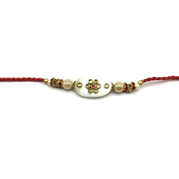 kundan Designer White Pendant Gold Stone Beads Red Thread Rakhi For brother