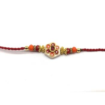 Kundan Flower Multicolor Stone Designer White Pendant Red Thread Rakhi For Brother