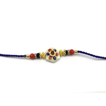 Kundan Flower Multicolor Stone Designer White Pendant Blue Thread Rakhi For Brother