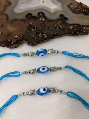 Set Of 3 Blue Evil Eye With Tortoise Designer Silver Beads Thread Rakhi For Brother
