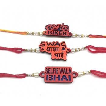 Set Of 3 Swag Wala Bhai/ Biker/ Selfie Wala Bhai Slogan White Pearls Red Thread Rakhi For Men/ Bhaiya/ Bhai