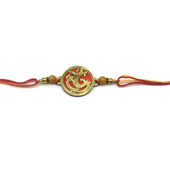 Gold Plated Ganesh Ji Designer Beads Multicolor Thread Rakhi For brother