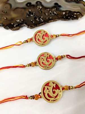 Set of 3 Gold Plated Ganesh Ji Designer Beads Multicolor Thread Rakhi for brother