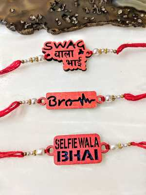 Set Of 3 Selfie Wala Bhai/ Brother / Swag Wala Bhai Slogan White Pearls Red Thread Rakhi For Men/ Bhaiya