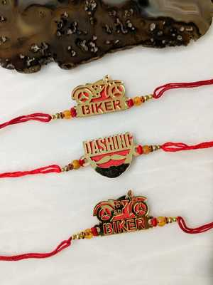 Set of 3 Gold Gold Dashing/ Biker Slogan Beads Red Thread Rakhi for brother