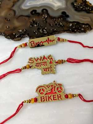 Set of 3 Gold Gold Biker/ Brother/ Swag wala Bhai Slogan Beads Red Thread Rakhi For brother