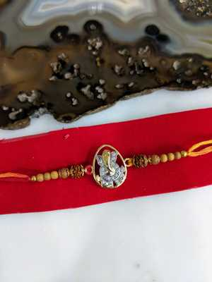 Gold Plated Stone Ganesh Ji Designer Rudraksha Beads Thread Rakhi For brother