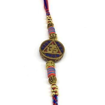 Gold Round Om Designer Pendant Beads Multicolor Thread Rakhi Set For Brother