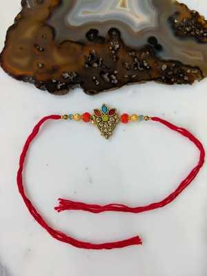 Gold Plated Flower Multicolor Gemstone Beads Red Thread Rakhi For Men brother
