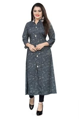 Dark-Grey Printed Cotton Ethnic-Kurtis
