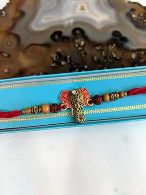 Gold Plated Ganesh Ji Rudraksha Wood Beads Multicolor Thread Rakhi For brother
