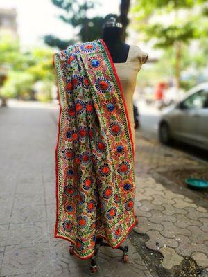 Multicolored Thread Worked Hand Embroidered Chanderi Silk Dupatta
