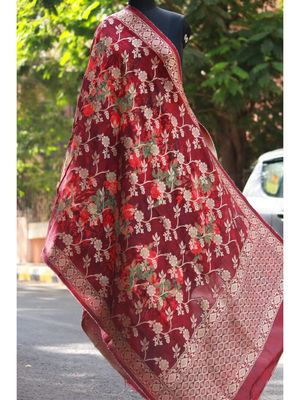 Coke Colored With Golden Thread Worked Weaved Designer Dupatta