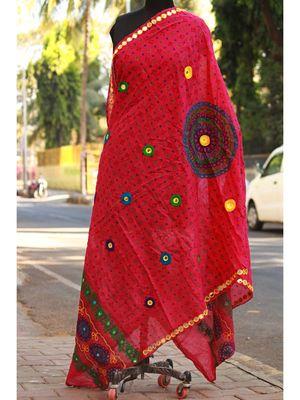 Pink Colored Hand Worked Foil Mirror Embellished Designer Dupatta