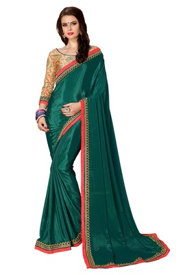 Green plain fancy fabric saree with blouse