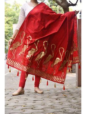 Red Coloured Chanderi Silk Designer Dupatta