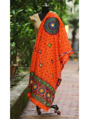 Orange Coloured Bandhani Pattern With Foil Mirror Worked Designer Dupatta