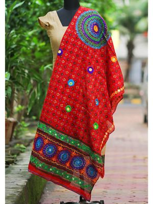 Red Coloured Bandhani Pattern With Foil Mirror Worked Designer Dupatta