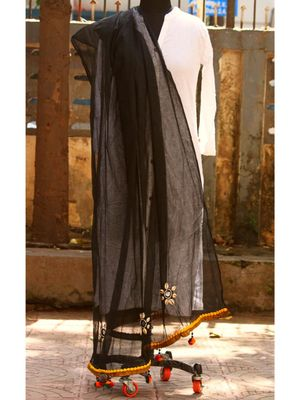 Black Coloured Shell Worked Designer Cotton Silk Dupatta