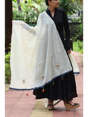 White Coloured Shell Worked Designer Cotton Silk Dupatta