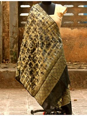 Grey And Golden Colored Banarsi Silk Weaved Dupatta