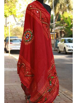 Kutch Embroidered Real Mirror Work Maroon Colored Cotton Dupatta