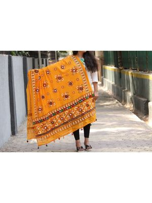 Kutch Embroidered Real Mirror Work Yellow Colored Cotton Dupatta