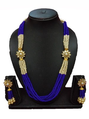 BLUE GOLD PLATED POLISH DESIGNER ETHNIC TRADITIONAL CONTEMPRORAY NECKLACE