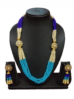 Blue Firozi Gold Plated Polish Designer Ethnic Traditional Contemproray Necklace