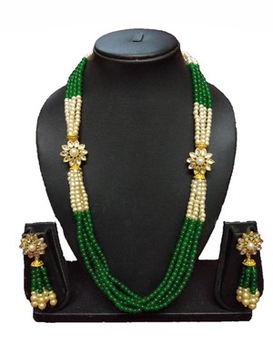 GREEN GOLD PLATED POLISH DESIGNER ETHNIC TRADITIONAL CONTEMPRORAY NECKLACE