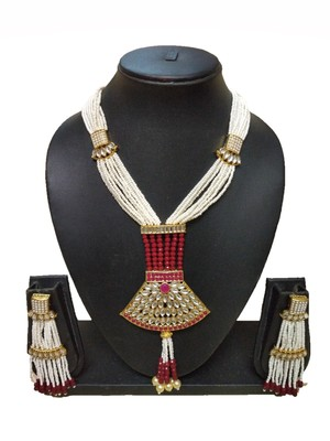 Marron Contemporary Gold Plated Designer Traditioanl Ethnic Pearl Beaded Necklace