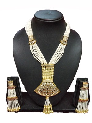 WHITE CONTEMPORARY GOLD PLATED DESIGNER TRADITIOANL ETHNIC PEARL BEADED NECKLACE