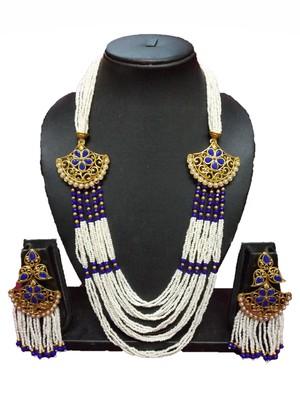 Gold Plated Polish Blue Designer Kundan Ethnic Traditional Contemporary Fashion Necklace