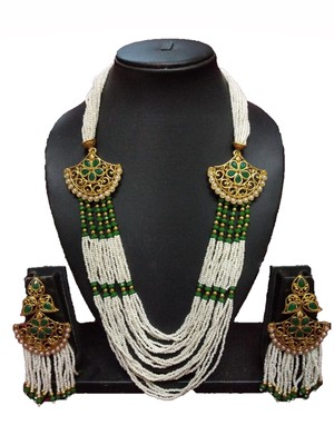 Gold Plated Polish Green Designer Kundan Ethnic Traditional Contemporary Fashion Necklace