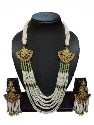 GOLD PLATED POLISH MINT GREEN DESIGNER KUNDAN ETHNIC TRADITIONAL CONTEMPORARY FASHION NECKLACE