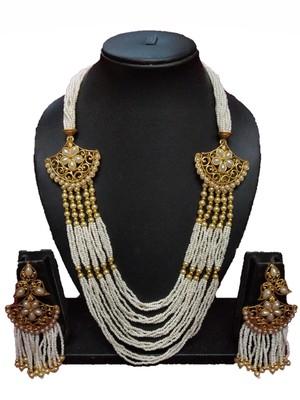 Gold Plated Polish White Designer Kundan Ethnic Traditional Contemporary Fashion Necklace