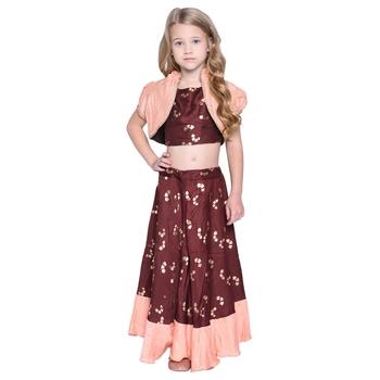 Hazen Crop Top & Skirt with Shrug Set for Girls