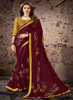 Wine printed satin saree with blouse