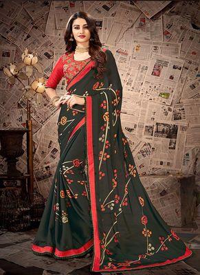 Dark teal printed satin saree with blouse
