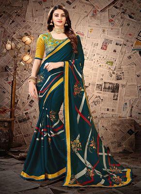 Teal printed satin saree with blouse
