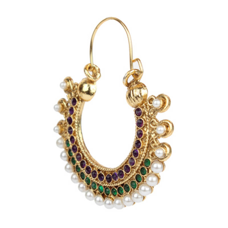 d7714a35fdde6 Traditional indian bollywood jewelry set, golden pearl polki hoop earrings  set mz1pg