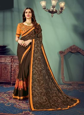 Coffee printed chiffon saree with blouse
