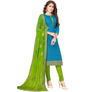 Blue hand embroidery cotton salwar