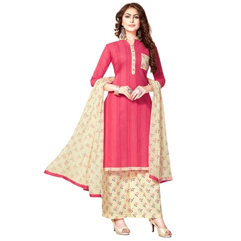 Pink hand embroidery cotton salwar